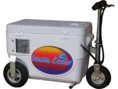 Quit lugging your cooler around and let it transport you instead. This electric scooter cooler has a max speed of 13 mph and a capacity of 300 lbs. Easy-access panel in lid lets you grab a drink while you drive. Batteries and charger included.  Call 800-298-8924 to order Cruzin Cooler camping and hiking part number 52-1000XE-W or order online at etrailer.com. Free expert support on all Cruzin Cooler products. Guaranteed Lowest Price and Fastest Shipping for Cruzin Cooler Electric Scooter…