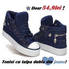 Tenesi gheata de jeans cu talpa dubla la doar 54 lei! | Outlet online