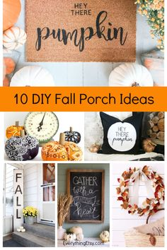 10 easy DIY front porch ideas that will help you celebrate the season in style! These easy tutorials will save you time and money as you decorate your front porch to welcome you guests. Plus, lots of DIY ideas to help you kick off the season! Pink Bookshelves, Diy Bookshelf Wall, Hanging Tv On Wall, Stall Decorations, Fall Coloring Pages, Fall Sewing, Decor Crafts, Fall Crafts, Fall Diy
