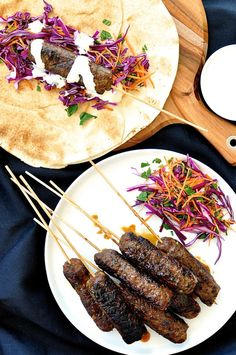 "Lamb Koftas with Yogurt Dressing — ""This is a great dish for entertaining because you can prepare everything in advance then just throw the koftas on the grill when your guests arrive. Pile it all onto a platter and let your guests help themselves!"" via @recipetin"