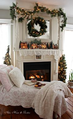 Shabby Chic Christmas with Day Bed and Fireplace. Relaxing Christmas tea time by the fireplace * sigh* ♥ Christmas Fireplace, Christmas Mantels, Merry Little Christmas, Cozy Christmas, Country Christmas, All Things Christmas, Christmas Holidays, Christmas Decorations, Fireplace Decorations