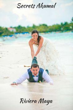 An intimate elopement wedding ceremony, followed by a Trash The Dress photo session! Making the most of a destination wedding in Riviera Maya, Mexico! (Wedding Photography by Fun In the Sun Weddings) http://www.funinthesunweddings.com/wedding-blog/secrets-akumal-riviera-maya-stefanie-cory