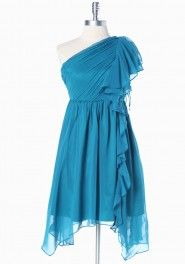 Ruche masquerade asymmetrical one shoulder dress in teal