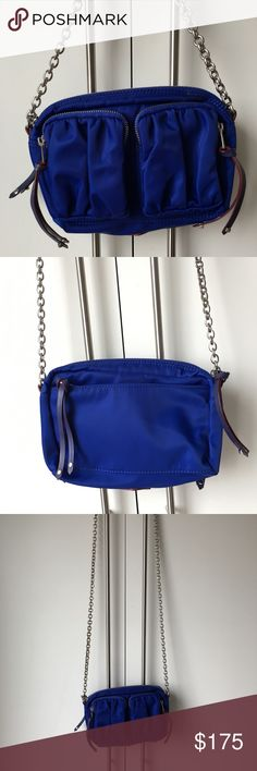 MZ Wallace Electric Blue Penny Chain Crossbody Worn just a handful of times - in great condition! Silver hardware, classic MZW red edge dye. Electric Blue from SS13. Vibrant blue with cafe lining. Comes with dust bag. MZ Wallace Bags Crossbody Bags
