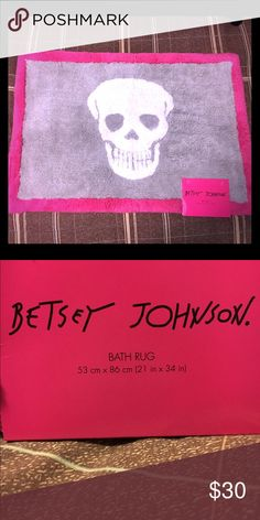 """Betsey Johnson Bath Rug Grey and pink bath rug with skull design in the middle. Measures 21""""x24"""" Betsey Johnson Other"""