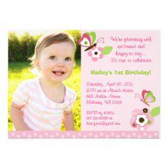 Butterfly Flower Garden Birthday Invitations
