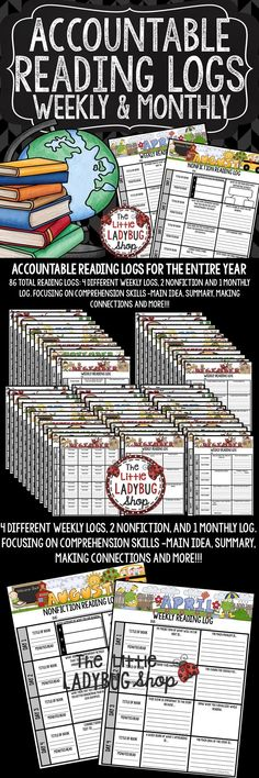 Reading Logs: Keep your students engaged during reading! These Reading Comprehension Logs are perfect to use Monthly, Weekly, for every month of the school year! You will LOVE this alternative to the traditional reading log. This keeps your students accou