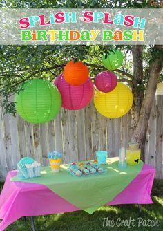 The Craft Patch: Splish Splash Birthday Bash Water Theme Birthday, Water Birthday Parties, Birthday Party Games, Birthday Ideas, 5th Birthday, Kids Water Party, Luau Theme, Happy Birthday, Splash Party
