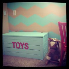 Toy chest but with out words, use for living room, paint outside neutral like grey, inside bright colors!