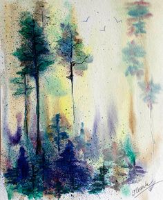 ORIGINAL landscape watercolor painting of summer day. There are some pine trees painted, and birds flying in the sky...    This ORIGINAL watercolor