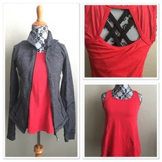 Lululemon Top Loose fit top with tulip hem back. Open upper back to show off cute bra straps as seen in photo above. You can even layer over a tight support tank if you are modest like me ☺️.this  size 4 fits like a 6 due to the tulip back. This shade of red matches the Groove pants in my closet ! Black is also available. lululemon athletica Tops Tank Tops