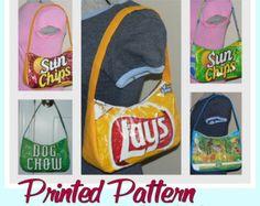 Chip Zip tas naaien patroon (gedrukte patroon - postbezorging) DIY tas gemaakt met behulp van gerecycled wrappers, nieuwheid portemonnee - klaar-tot-schip
