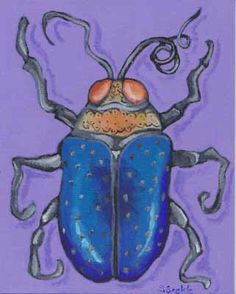 blue and orange bug acrylic paints on canvas board
