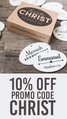 """How gorgeous is this Christ-Centered ornament set?! The """"This is the Christ"""" ornament set includes 12 beautifully painted and finished wood ornaments. Each ornament is printed with a biblical name or title of Jesus Christ with the scriptural reference. Add them to a wreath, Christmas tree, or your own custom display. We love it so much that we HAD to reach out and get a discount just for you guys! Get 10% OFF using promo code """"CHRIST"""" from Nov 12th- 15th!"""