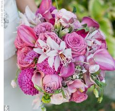 Jennifer replicated her English garden-style in her bridal bouquet, with a slight cascade of raspberry dahlias, mini calla lilies and pink cymbidium orchids.