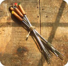 Unique Vintage Wood Japanese Fondue Forks  Would Make Mod Garden Markers!