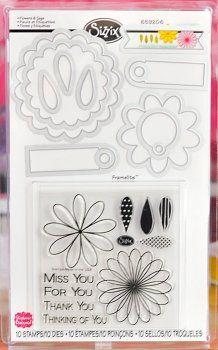 Sizzix Framelits Dies 10PK w/Stamps - Flowers & Tags