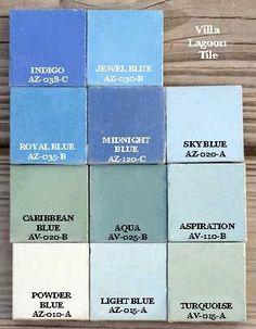 Blue colors cement tiles tints
