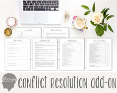 Conflict Resolution Therapy Journal: Mental Health, Depression, Anxiety, Anger Management, Marriage Therapy, Instant Printable Download