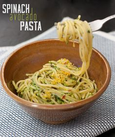 Spinach Avocado Pasta – Avocado adds a nice creaminess so you don't have to use tons of butter and cheese.