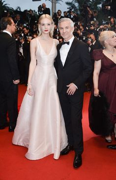 Carey Mulligan (with Baz Luhrmann) in Dior couture at Cannes