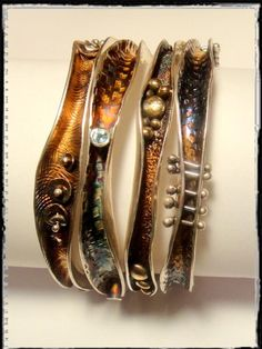 I adore these bangles. The textures and embellishments in each one is so beautiful. I also love the anticlastic style so much! Robyn Cornelius, Wave Bangles Sterling Silver, Little Rock Jewellery Studio, Sterling Silver, Liver of Sulfur Patina Rock Jewelry, Copper Jewelry, Clay Jewelry, Jewelry Art, Sterling Silver Jewelry, Jewelry Bracelets, Jewelry Design, Unique Jewelry, Silver Ring