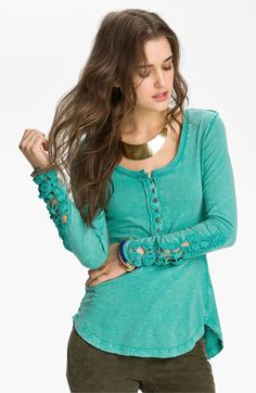 Fun and funky!  Free People Crochet Cuff Henley available at #Nordstrom