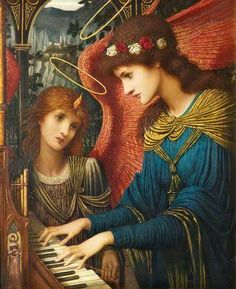 """""""Saint Cecilia"""" (1896), By John Melhuish Strudwick (1849-1937), Oil on Canvas. National Museums Liverpool, England. #angels"""