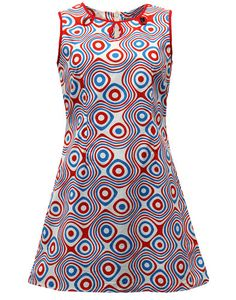 LAZY DAISY RETRO MOD 60S SLEEVELESS DRESS in Red/White/Blue Op Art from Madcap England