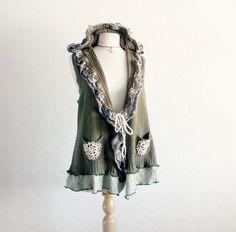 Olive Green Sweater Vest Hooded Cardigan by BrokenGhostClothing,