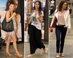 celebridades desfilando com look casual