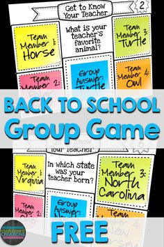FREE Back to School cooperative learning game! Groups of students use sticky notes to Get to Know the Teacher!