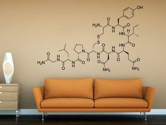 Love Molecule - Oxytocin wall sticker, decal for home decor Tile Stickers Modern Decor - Stick on ceramic tiles and change the look of your tiles Apply this wall decal / sticker in any flat surface (walls, windows, doors, furniture). View all our products in Etsy at https://www.etsy.com/shop/decalSticker {Size} L : 120 x 75 cm   47.2 x 29.5 inches XL : 191 x 120 cm   75.2 x 47.2 inches {VINYL COLORS} Product printed. Note: Colors may vary slightly due to individual ...