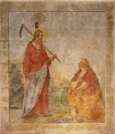 Jesus and Maria Magdalena, fresco in Santa Croce, Florence Noli Me Tangere, Images Of Mary, The Lord Is Good, Mary Magdalene, John The Baptist, Holy Family, Renaissance Art, Santa Maria, Fresco