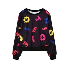 Colorful Letter Print Round Neck Long Sleeve Cropped Sweatshirt ($28) ❤ liked on Polyvore featuring tops, hoodies, sweatshirts, crop top, white sweatshirt, colorful sweatshirts, cotton crop top and white long sleeve top
