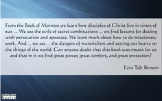 Lesson 10. Mormon Basics offers commentaries based on the Relief Society - Priesthood manuals. These quotes are a mixture of quotes from the prophets and Mormon Basics. You can find the commentaries in the Mormon Basics Store.
