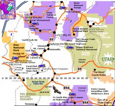 A map of southern Utah and northeast Arizona, showing how close Zion National Park, Bryce Canyon, Cedar Breaks, Coral Pink Sand Dunes, Grand Staircase-Escalante National Monument and the North Rim of the Grand Canyon are.