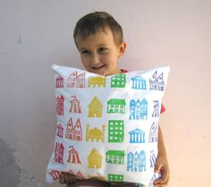 Childrens decor throw pillow rainbow houses print on by EarthLab, $42.00