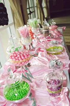 Pink and green candy table. Photo by Jesse Giles Photography