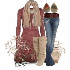 Ropa otoño invierno: conjunto de ropa de otoño e invierno Love all of this aside from the boots. Very cute and would be nice for a cooler, windy day Fashion Moda, Look Fashion, Fashion Outfits, Womens Fashion, Trendy Fashion, Fashion Fall, Women's Feminine Fashion, Fashion Trends, Fashion Boots