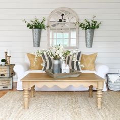 Farmhouse decor with shiplap walls and natural colors