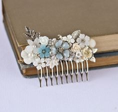 Bridal Hair Comb - Wedding Hair Accessories, Vintage Something Blue, Shabby Chic Wedding Hair Comb, Silver Hair Comb Something Old. $99.00, via Etsy.