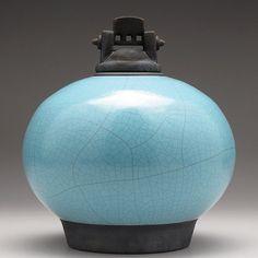 Large Ceramic jar,Raku pottery, turquoise blue pottery lidded urn, Raku Jar with lid,large urn, large jar, ,handmade