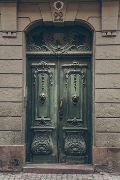 Stockholm, Sweden, door, green, rustic, details, ornaments, architechture, history, culture, beauty, photograph, photo