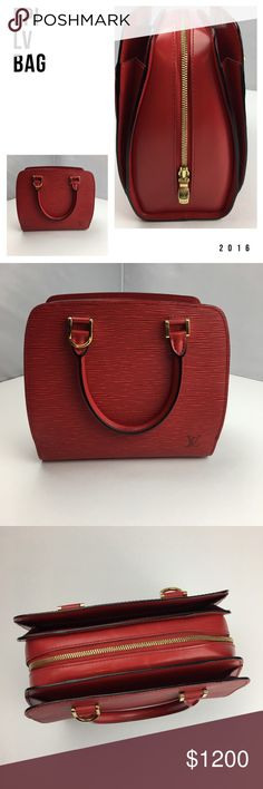 Louis Vuitton Handbag Red epi leather Louis Vuitton handbag. Gorgeous rare red epi leather purse in a medium.  Authenticity guaranteed. All purses over $500 are sent to Poshmark concierge for authentication and value inspection prior to buyer. Louis Vuitton Bags