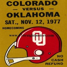 1977 OU Football Ticket Coasters.™  Ceramic drink coasters printed in the U.S.A. and shipped within 24 hours. Made from over 2,000 historic college football tickets. Best last minute Father's Day gifts.