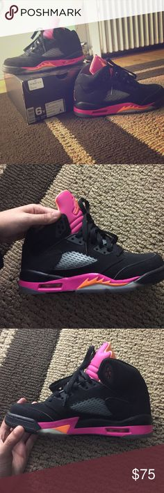 Air Jordan citrus 5 - size 6y Jordan 5 - citrus/hot pink size 6y (7.5 in women's) Jordan Shoes Sneakers