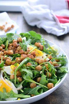 Crispy Chickpea Arugula Salad  www.MarysLocalMarket.com Sustainable. Natural. Community. #maryslocalmarket