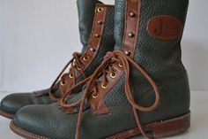 SOLD***$60***Vintage Justin Green Leather Boots Size 8 1/2 B***For more unique items please visit: http://www.etsy.com/shop/TsEclecticCorner