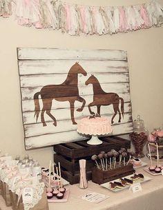 Pony Horse Birthday Party Ideas Photo 14 of 16 Horse Theme Birthday Party, Cowgirl Birthday, 9th Birthday Parties, Cowgirl Party, Birthday Ideas, Girl Horse Party, 3rd Birthday, Horse Party Decorations, Birthday Party Decorations